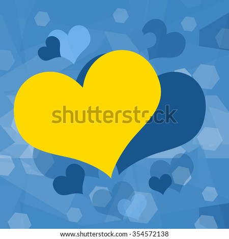 Yellow heart on blue background  - stock photo
