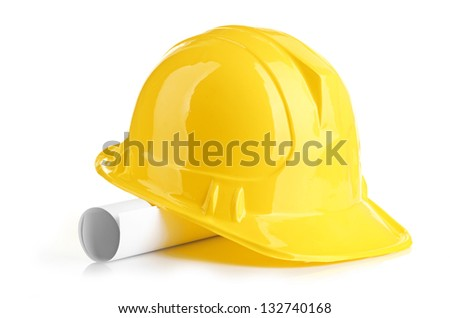 yellow helmet and roll paper