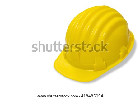 Yellow helmet isolated on white background with clipping path top view. - stock photo