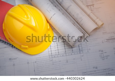 Yellow helmet Safety,  and industrial  project drawings