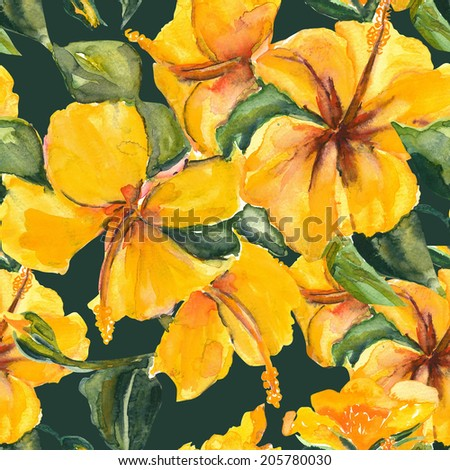Yellow hibiscus - stock photo