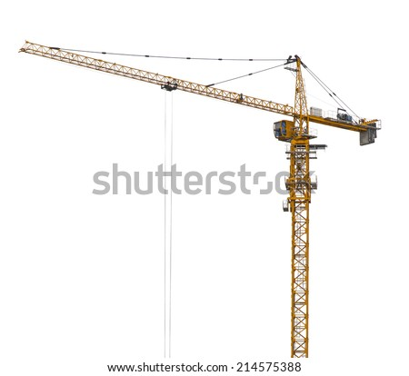 Yellow hoisting crane isolate - stock photo