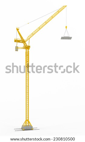 Yellow hoisting crane isolate on white background - stock photo