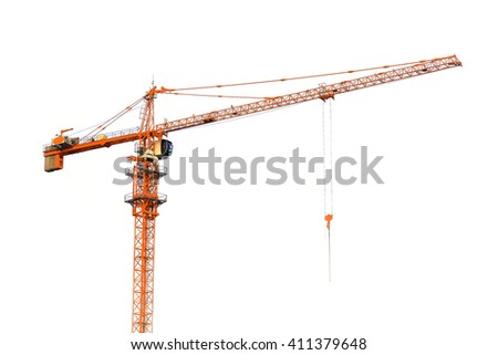 Yellow hoisting crane on white background - stock photo
