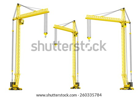 Yellow Hoisting Cranes on a white background - stock photo