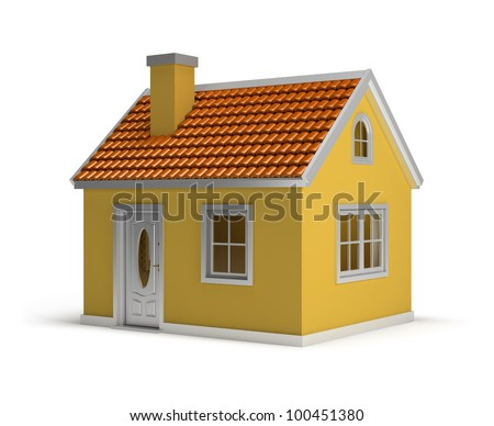 yellow house. 3d image. Isolated white background. - stock photo