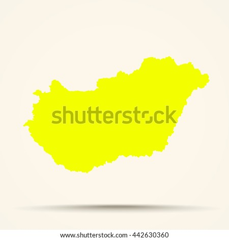 Yellow Hungary Map Illustration