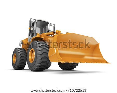 Yellow hydraulic bulldozer isolated on white background. 3D illustration. wide angle. front side view