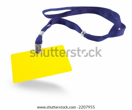 Yellow ID card and blue lanyard isolated against white background - stock photo