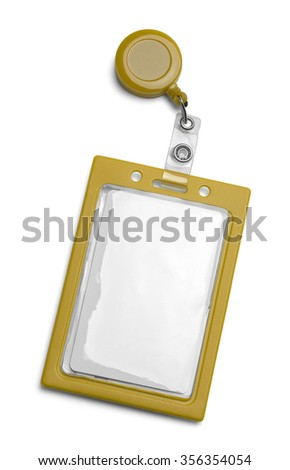 Yellow ID Card Holder Isolated on a White Background. - stock photo
