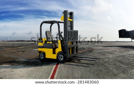Yellow Industrial Forklift truck in the airport backgound - stock photo