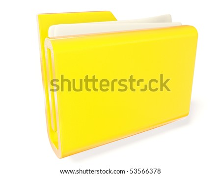 yellow information folder with paper inside on white