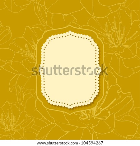 Yellow invitation or greeting card with stylish floral background in retro style.