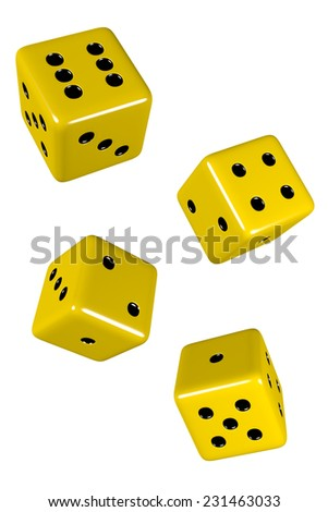 Yellow isolated dice in mid roll