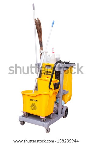 yellow janitor cart. Isolated over white background. - stock photo
