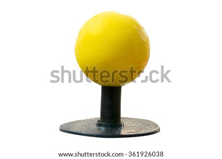 yellow joystick isolated - stock photo