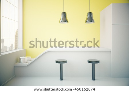 Yellow kitchen interior with fridge, countertop, two stools, cooking pans, ceiling lamps and window with city view. 3D Rendering - stock photo
