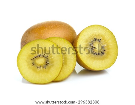 Yellow kiwi close up on white background - stock photo