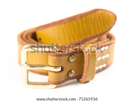 Yellow Leather Belt Isolated on White