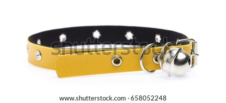 Yellow leather dog collar isolated on white background