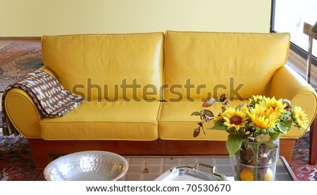 Yellow Leather Sofa Couch Interior Sunflower Bouquet