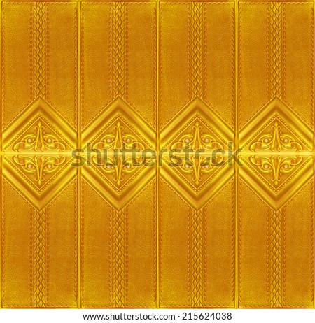 Yellow leather tile with a volume pattern, texture of skin for a decor of an interior of premises and for finishing of walls of restaurants, clubs and offices. - stock photo