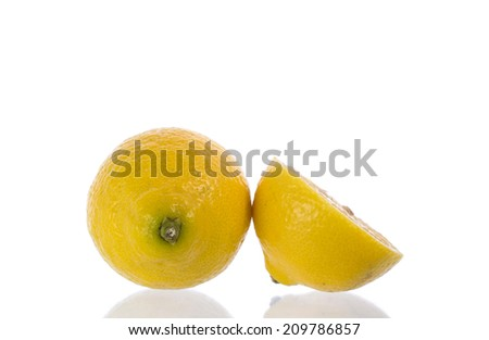 yellow Lemon and slice Isolated On White