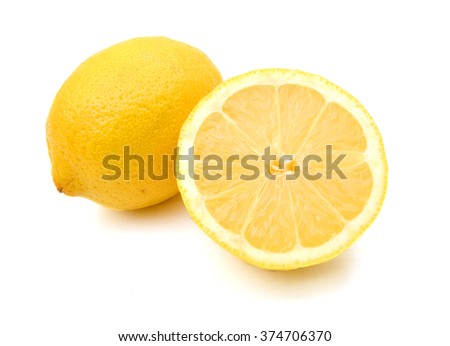 yellow Lemon and slice on a white background - stock photo
