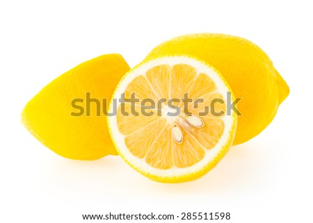 Yellow Lemon fruit isolated on white background