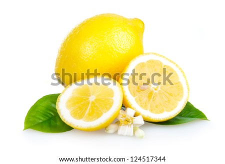 Yellow lemon fruits with leaves and slices isolated on white background