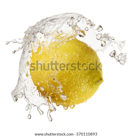 Yellow lemon in splash of water isolated on white background with clipping path