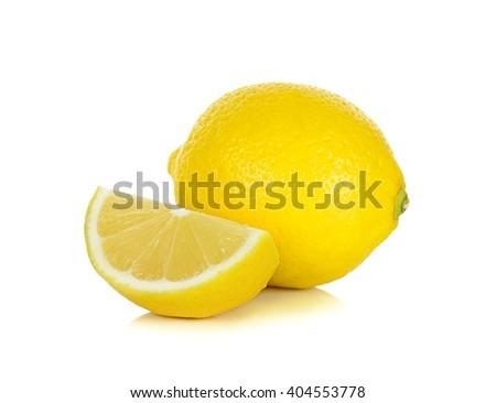 Yellow Lemon isolated on the white background. - stock photo