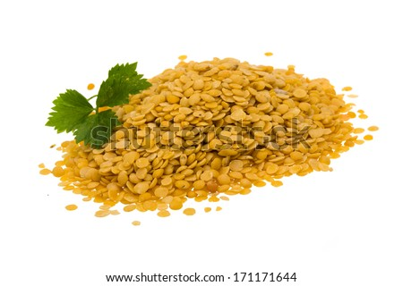 Yellow lentils isolated - stock photo