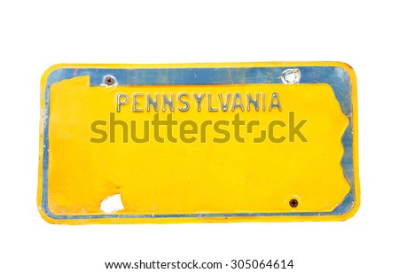 Yellow license plate of Pennsylvania, America on white background, Isolated. - stock photo