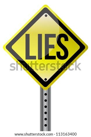 Yellow lies street sign illustration design - stock photo
