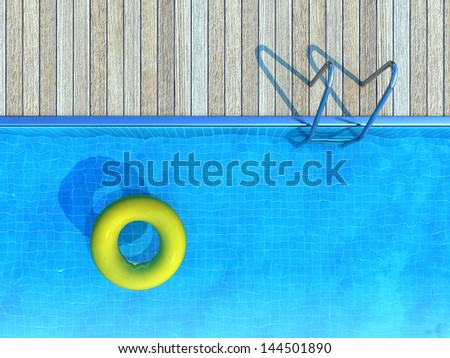 yellow life preserver floating in swimming pool, summer background - stock photo