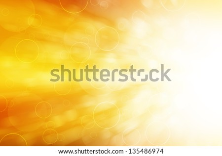 yellow light and circles abstract background - stock photo