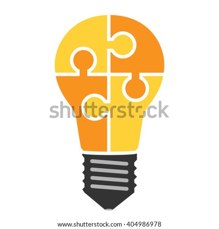 Yellow light bulb consisting of puzzle pieces isolated. Idea, business, solution, work, insight, brainstorm concept. Flat style - stock photo
