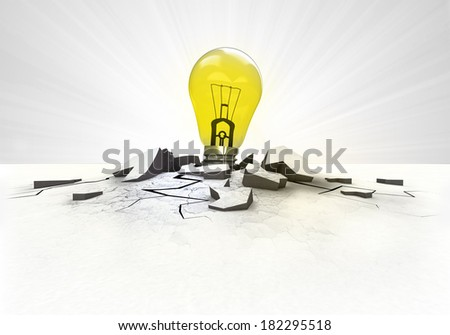 yellow lightbulb stuck into ground with flare concept illustration - stock photo