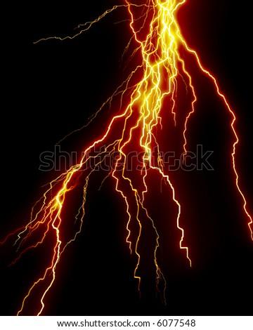 Yellow lightning flash on black sky - stock photo