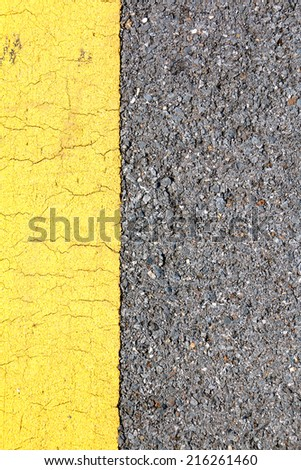 Yellow line on the street, background, texture