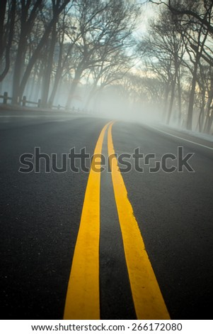 Yellow lines on empty road on foggy morning - stock photo
