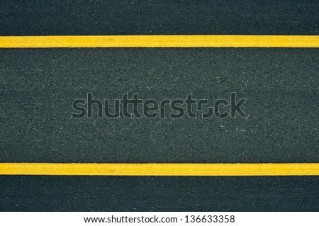 Yellow Lines Road. - stock photo