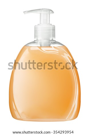 Yellow liquid soap bottle with pump / studio photography of transparent bottle with yellow liquid - isolated on white background - stock photo