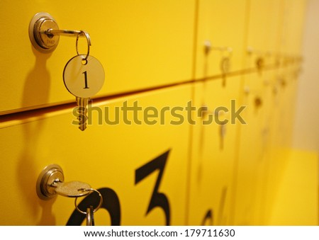 yellow lockers detail - stock photo