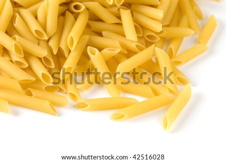 Yellow macaroni isolated on white background