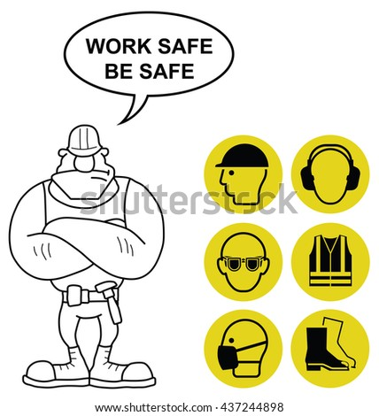 Yellow mandatory construction manufacturing and engineering health and safety signs to current British Standards with work safe be safe message isolated on white background - stock photo
