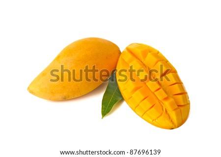 Yellow mango isolated on white background - stock photo