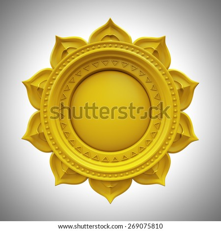 yellow Manipura solar plexus chakra base, 3d abstract symbol, isolated color design element - stock photo