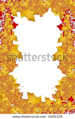 Yellow maple, red flowers frame. Autumn theme
